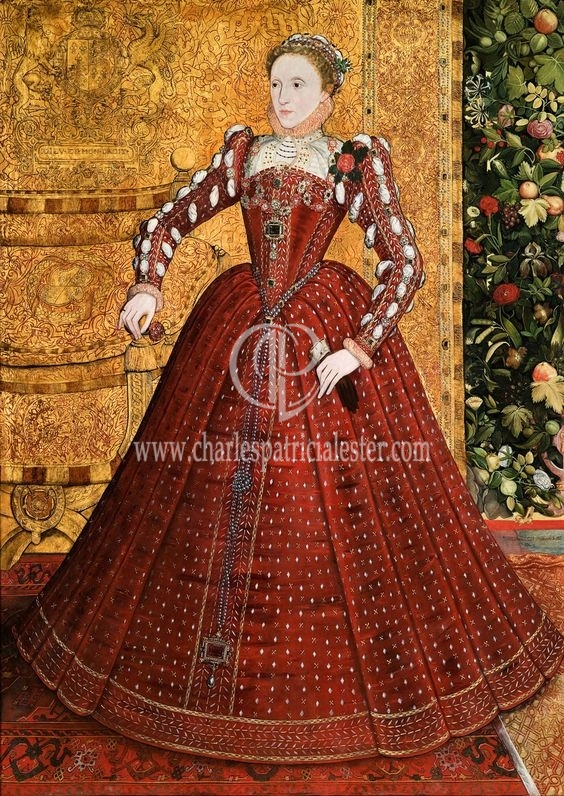 queen elizabeth in red