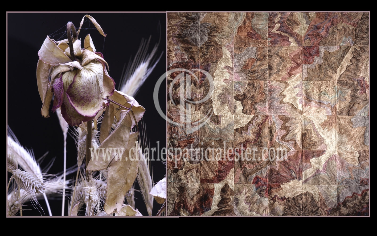 Faded rose - pleated silk wall hanging