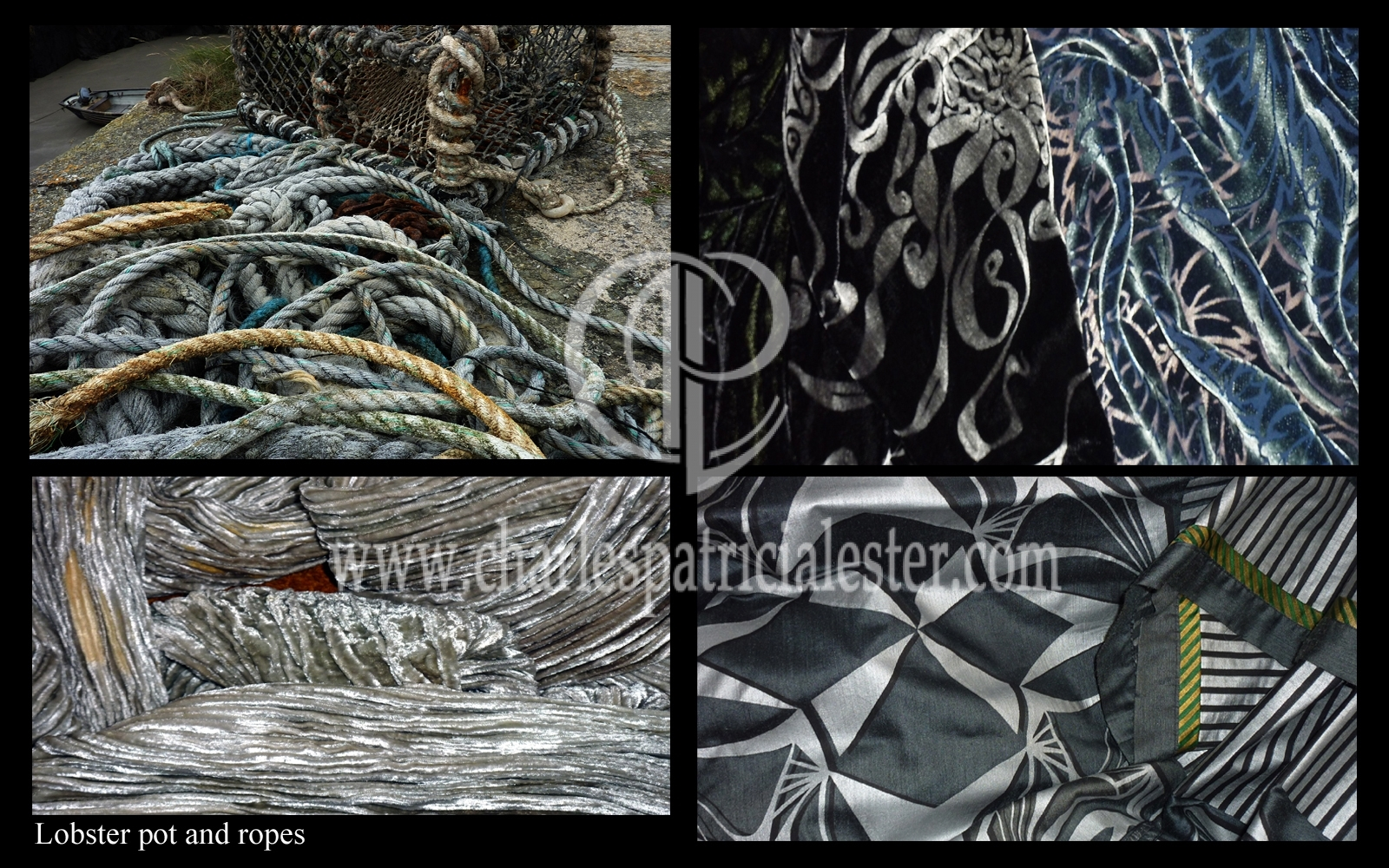 Lobster Pots and tangled fishing ropes tones of black silver and steel