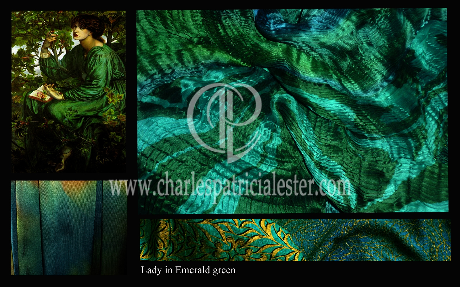Lady in Emerald green - textile art for the home