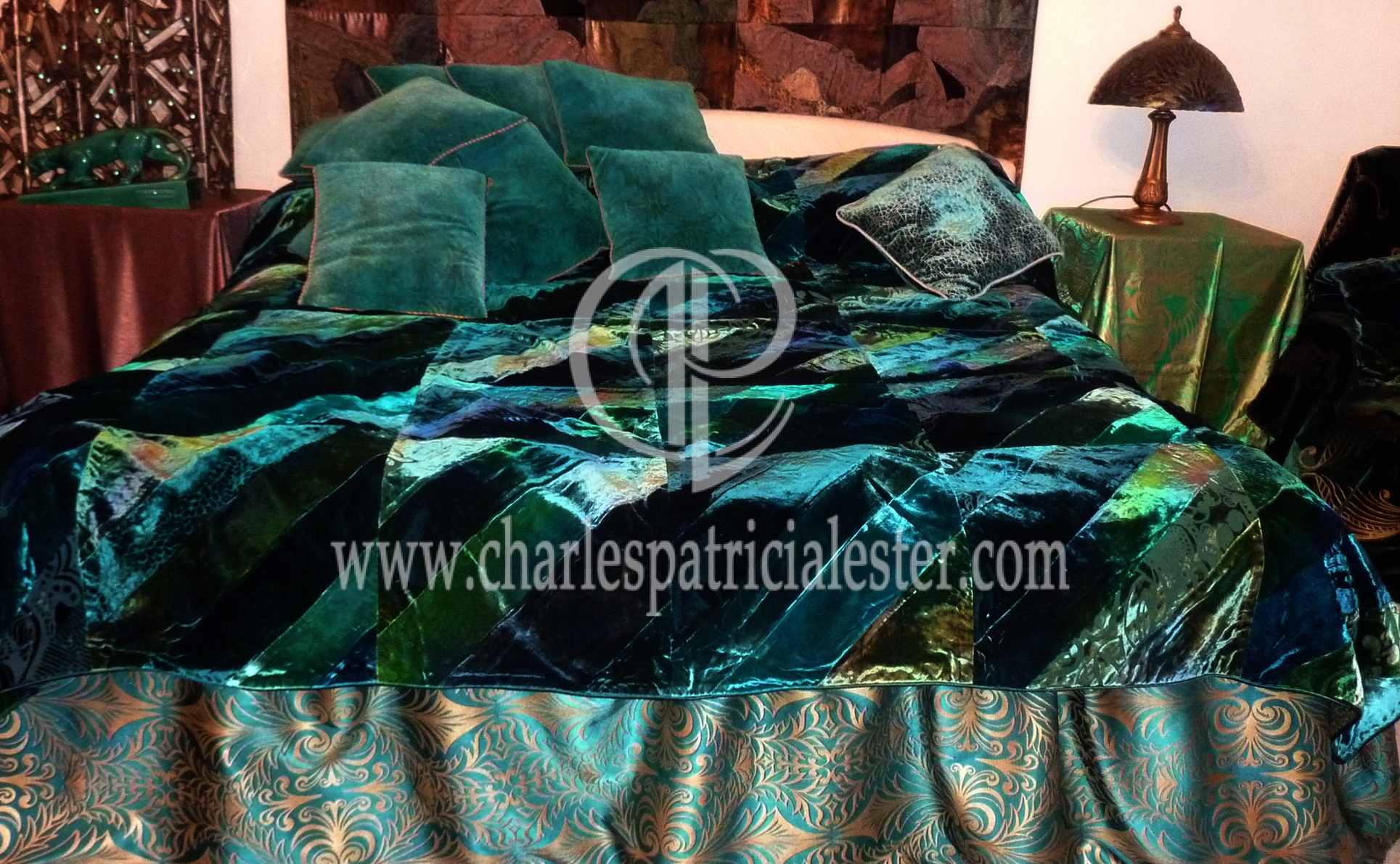 Luxurious emerald green velvet bedcover