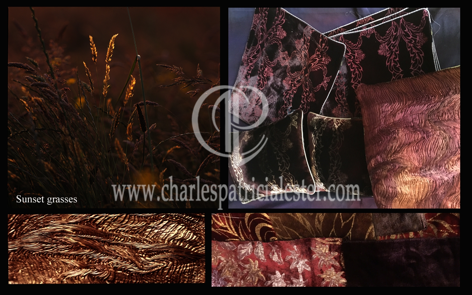 Sunset grasses inspires rich browns in velvet and silks