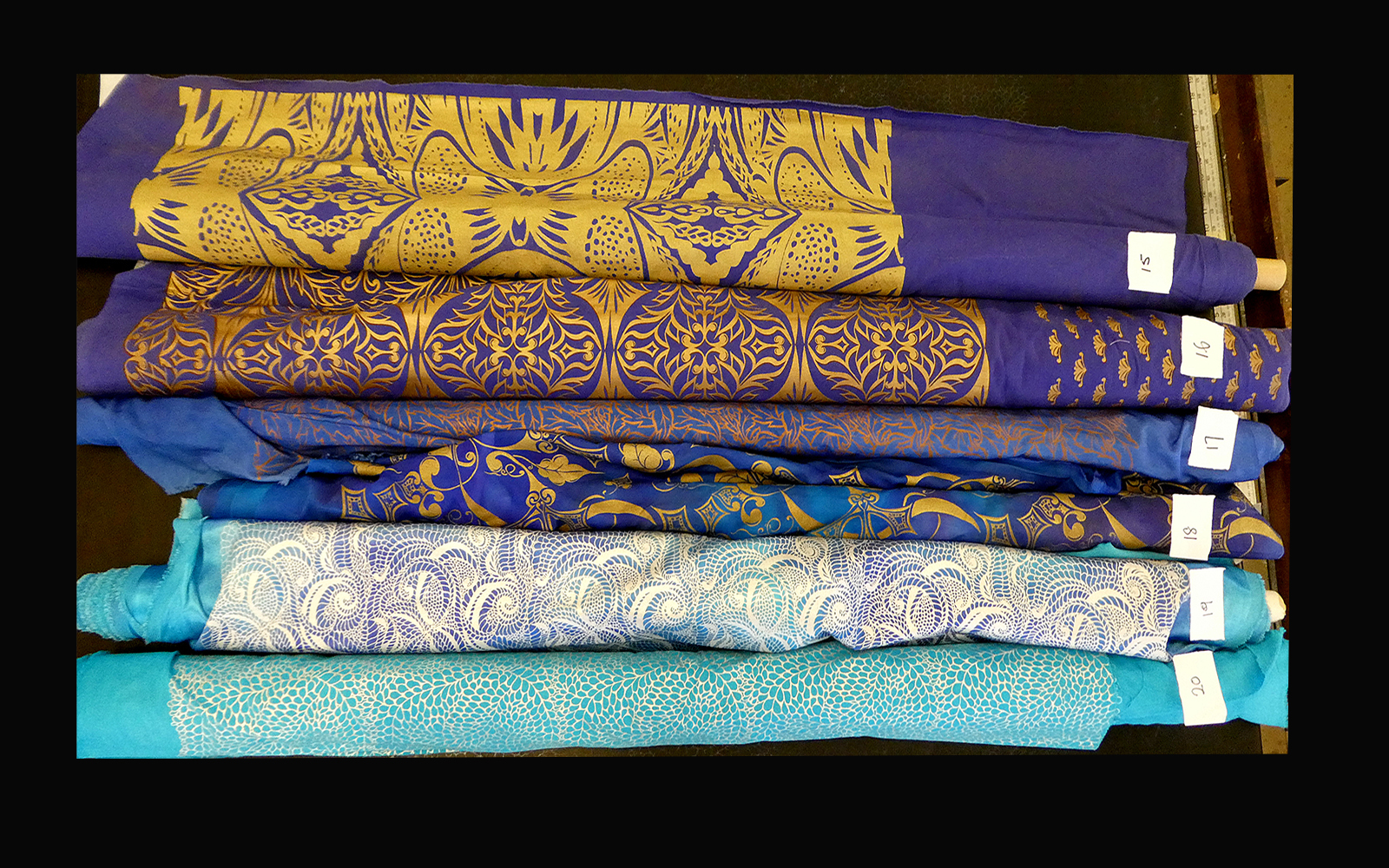 Fabric remnants blues film costume