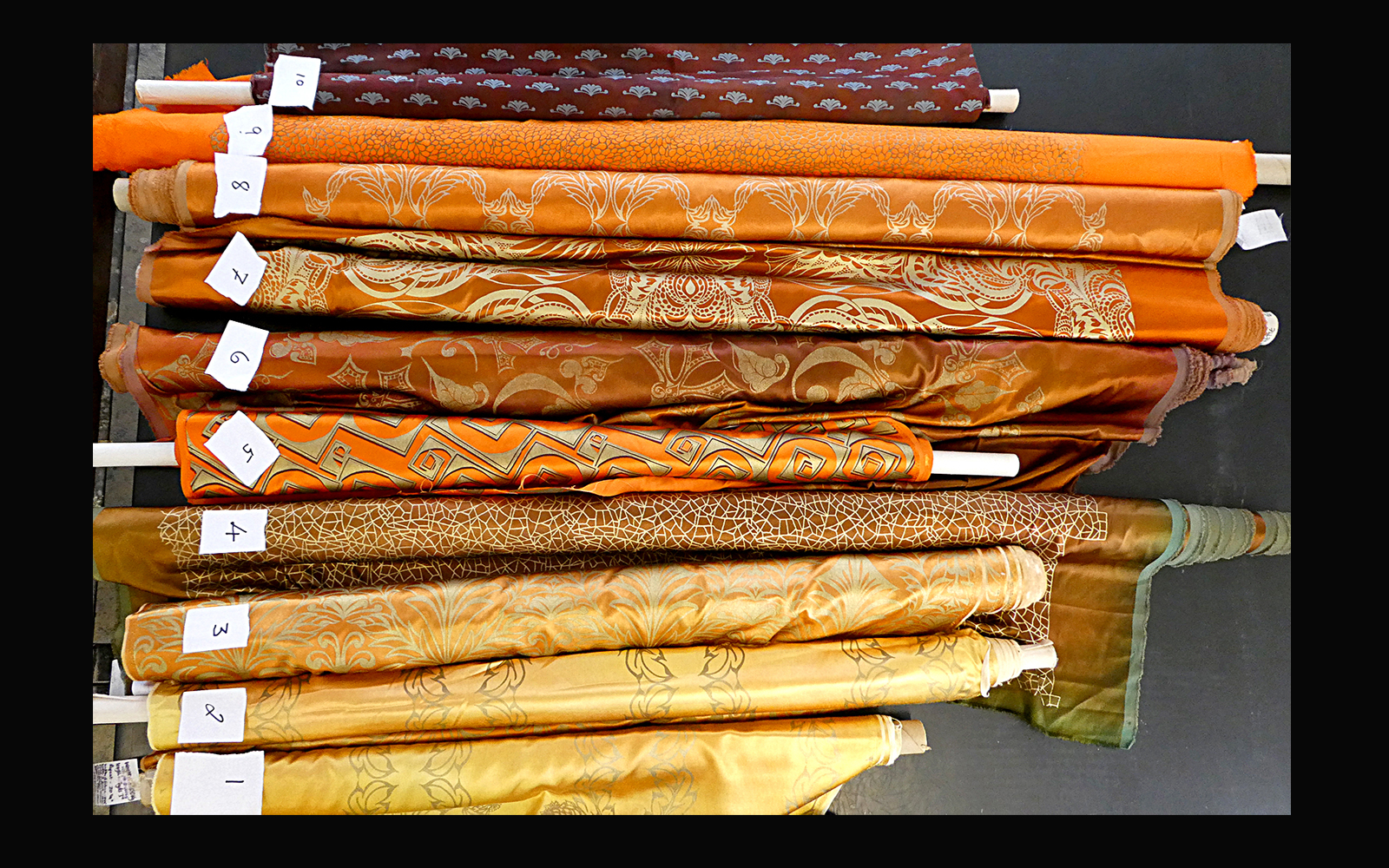 Fabric remnants drama opera golds ginger orange